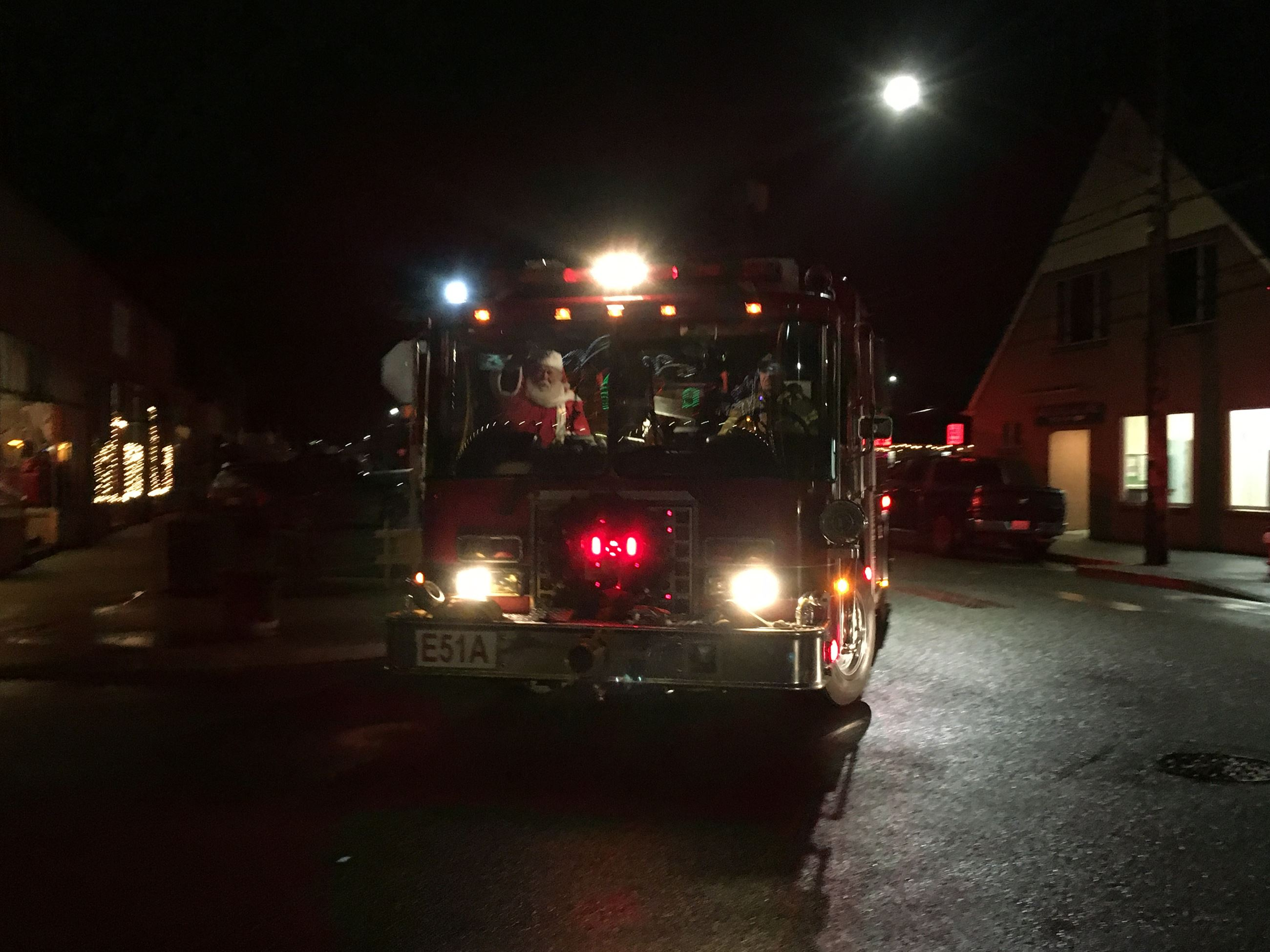 Lighted FireTruck with Santa